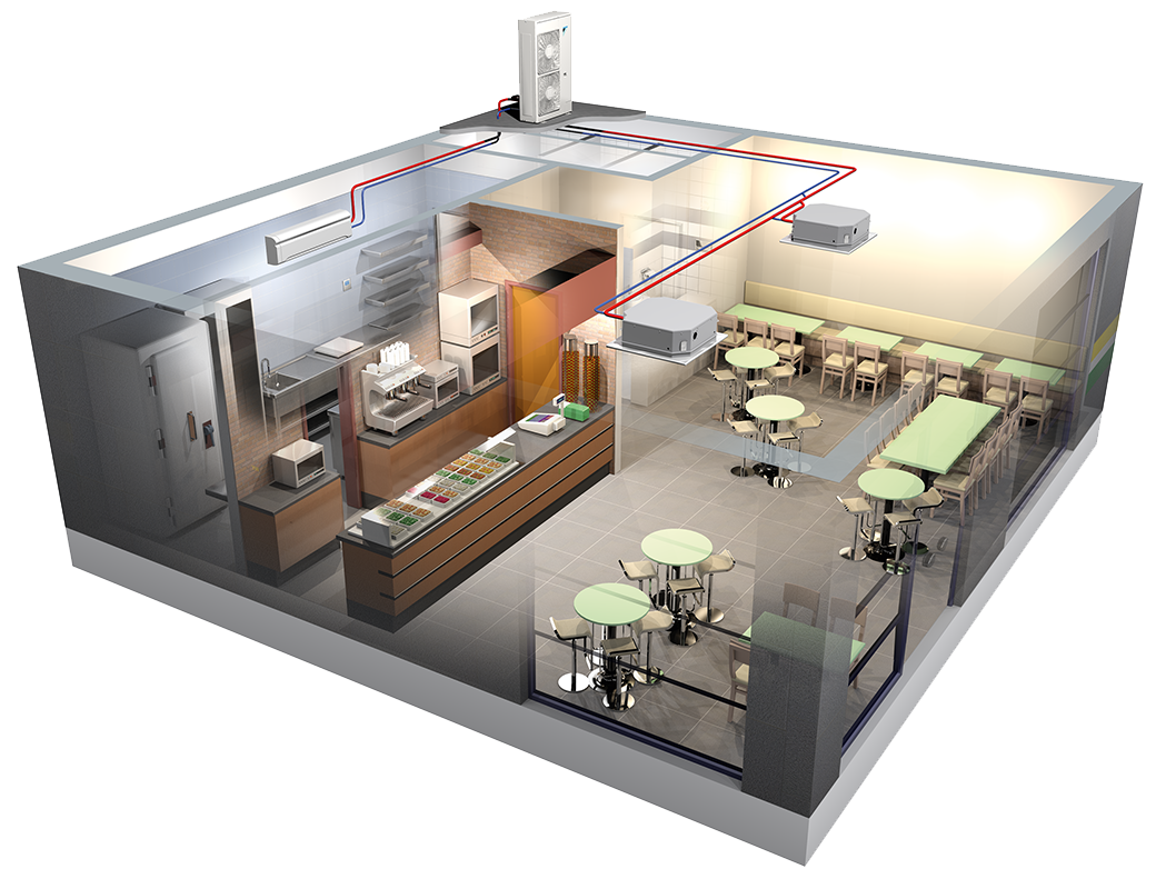 Illustrations of a restaurant with air conditioning system