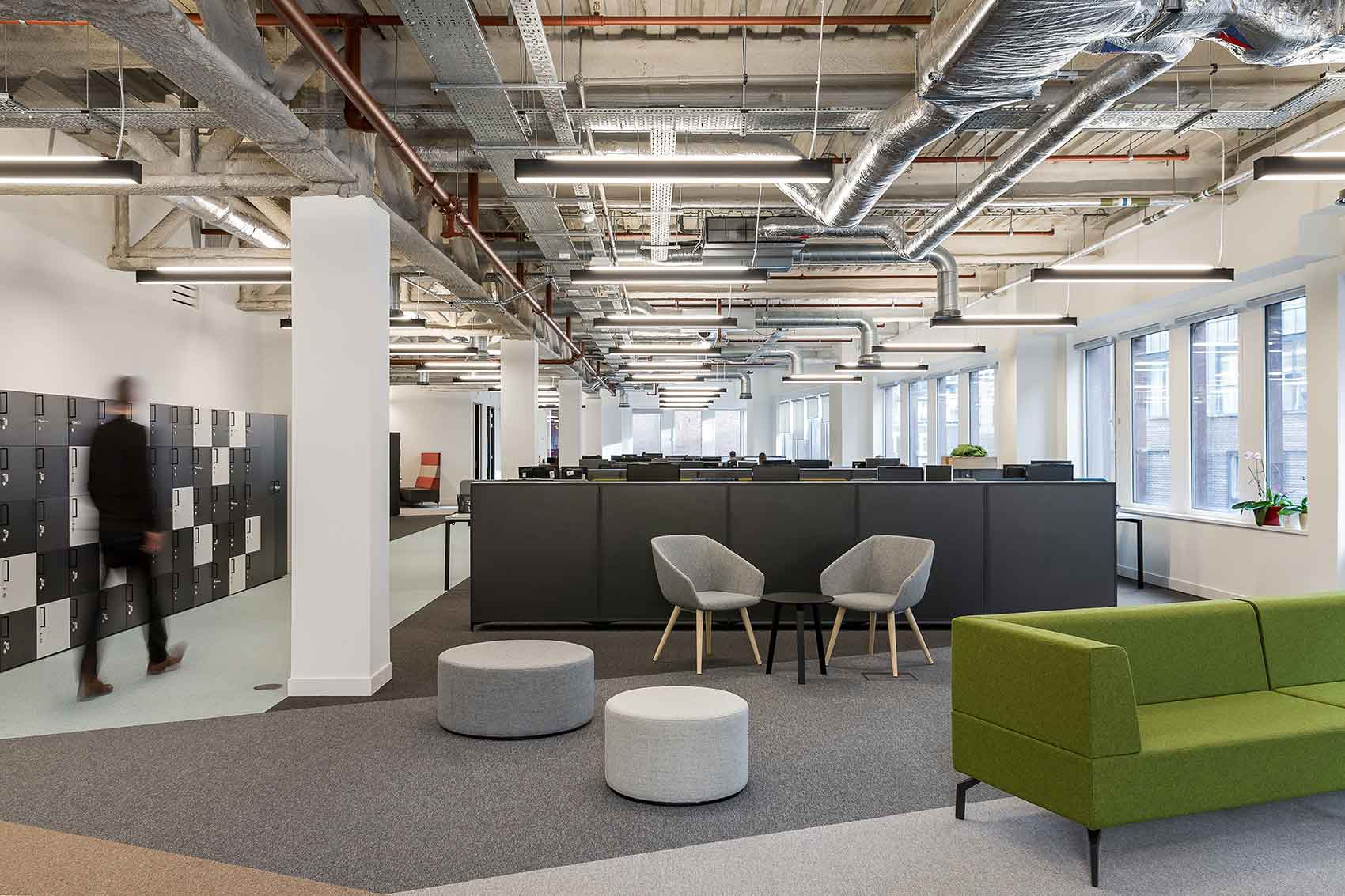 Open plan office with air conditioning system installed