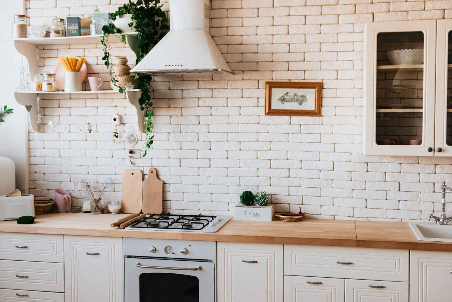 Stylish kitchen with extractor fan